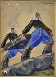 Mise des civières à terre - Kerinis, Locmariacquer (René-Yves Creston, 1929)