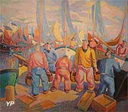 Port breton, le départ des pêcheurs (Eugène-Pierre Savigny dit Pierre de Belay, 1937)