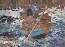 Pêcheurs relevant leurs casiers à homard à Santec (Mathurin Méheut)