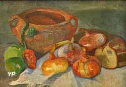 Nature morte au pot, oignons, pain et pommes vertes (Meijer de Haan, 1889)