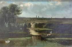 Bord de rivière avec barque (Camille Flers, 1850)