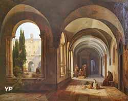 Moines franciscains dans le cloître de Santa Maria d'Aracoeli à Rome (Josse Van den Abeele, 1842)