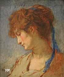 Tête de femme au ruban bleu (Thomas Couture, 1873)