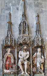 Retable polychrome de sainte Marthe - sainte Marthe, Christ couronné d'épines, sainte Marguerite (XVIe s.)