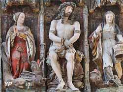 Retable polychrome de sainte Marthe - sainte Marguerite, Christ couronné d'épines, sainte Marthe  (XVIe s.)