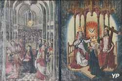 Pentecôte et Couronnement de la Vierge (tableau sur bois, XVe s.)