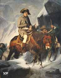 Napoléon Bonaparte franchissant les Alpes au col du Grand Saint-Bernard en 1800 (Paul Delaroche, 1848)
