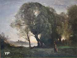Paysage idéal avec scène de danse antique, dit Danses virgiliennes (Jean-Baptiste Corot, vers 1855)