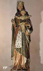 La Vierge et l'Enfant couronnés (bois polychrome, XVIIIe s.)