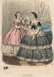 Gravure extraite de la gazette de mode Le Bon Ton, 1861, robe du soir à volants en dentelle de Chantilly