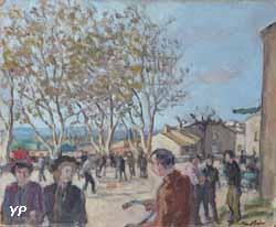 Musée Albert André - La place de Laudun le dimanche (Albert André, 1942)