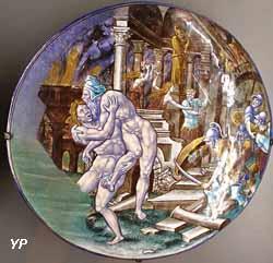 Enée fuyant Troie en flammes (Pierre Courteys,  vers 1550)