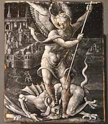 Saint Michel terrassant le dragon (émail, Léonard Limosin, vers 1550)