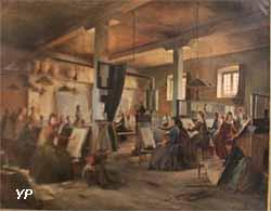 Le cours du matin des jeunes filles à l'Ecole nationale d'arts décoratifs de Limoges (Auguste Aridas, 1889)