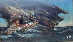 L'incendie du steamer Austria (Eugène Isabey)