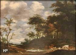 Paysage pastoral avec un berger se reposant à la lisière d'une forêt (Jacob Salomonsz, van Ruysdael)