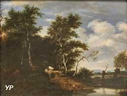 Lisière de forêt avec un berger menant boire son troupeau (Jacob Salomonsz, van Ruysdael)