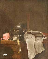 Roses, coupe et timbale avec deux verres sur une table (Jan Davidsz, de Heem)