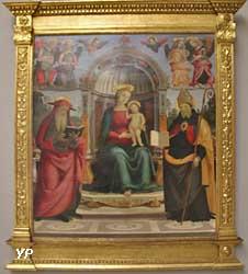 Vierge à l'Enfant sur le trône entre saint Jérôme, saint Augustin, quatre anges et deux chérubins (Pietro di Cristoforo Vannucci, dit le Pérugin)