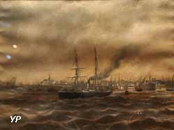 Vapeur sortant du port (Charles Leduc, 1870)
