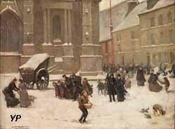 Sortie de la cathédrale d'Évreux (Charles Denet)
