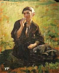 Femme assise dans un pré (Jules Breton)