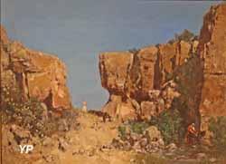 Défilé rocheux avec troupeau de chèvres (Gustave Guillaumet, collection privée)