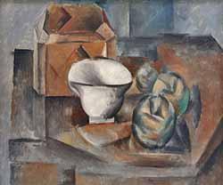 Nature morte : coffret, tasse et pommes (Pablo Picasso, 1909)