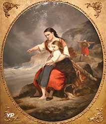Pêcheuse assise sur un rocher tenant une petite fille (Eugène Benard, 1864)