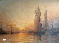 Entrée au port de Boulogne, soleil couchant (Georges Ricard-Cordingley, 1906)