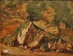 Etude de rochers et d'arbres, Fontainebleau (Théodore Rousseau)