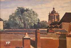 Orléans, vue prise d'une fenêtre en regardant la tour Sainte Paterne (Jean-Baptiste Camille Corot)