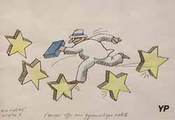 L'Europe offre une gymnastique mobile - dessin pour Europolitain (Tomi Ungerer, 1998)