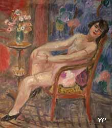 Femme assise avec mimosa (Charles Camoin)