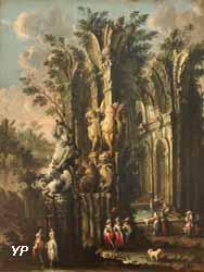 Fantaisie d'architecture en ruine avec Bellérophon frappant la chimère (Gherardo Poli)