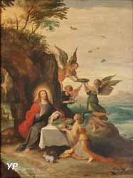 Le Christ au désert servi par des anges (Frans II Francken)