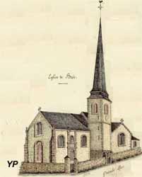 Église Saint-Gervais et Saint-Protais - Dessin de Ferdinand Lecomte, instituteur à Brée de 1887 à 1920 (Archives départementales de la Mayenne)