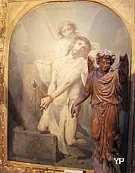 église Notre-Dame de l'Assomption - Jésus soutenu par un ange après la flagellation, statue d'ange en noyer